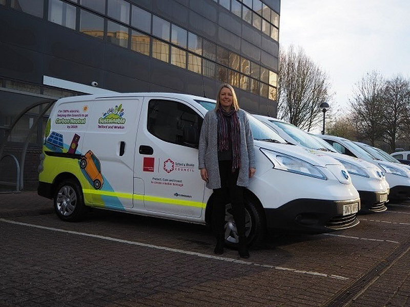 Councillor Carolyn Healy, cabinet member for Climate Change with the new vans. Photo: Telford & Wrekin Council