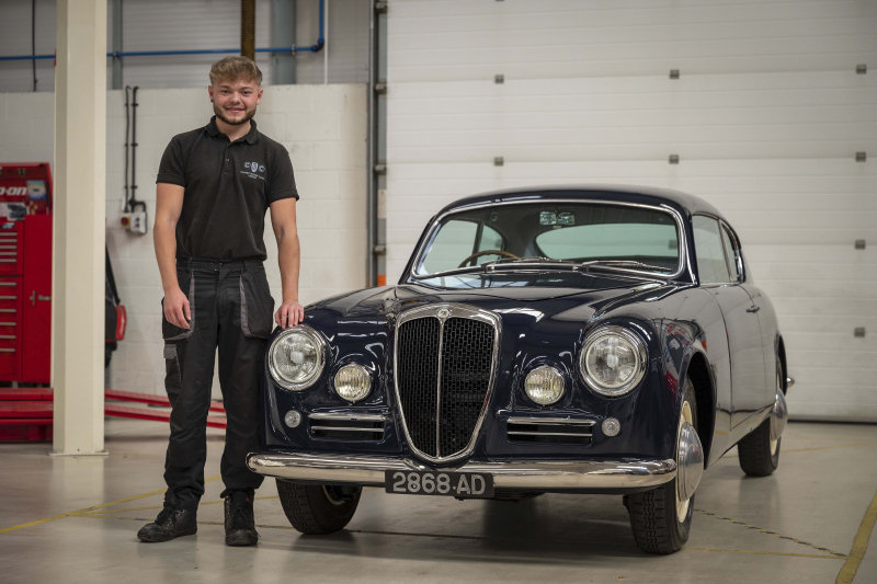 Harry Ruffell Hazel with the Lancia which he project led