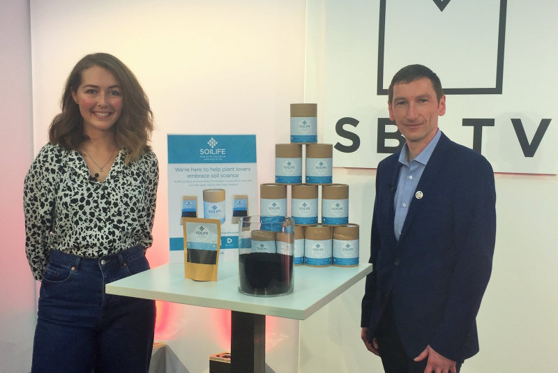 Hannah Coles co-founder of Soilife with Chris in the studio