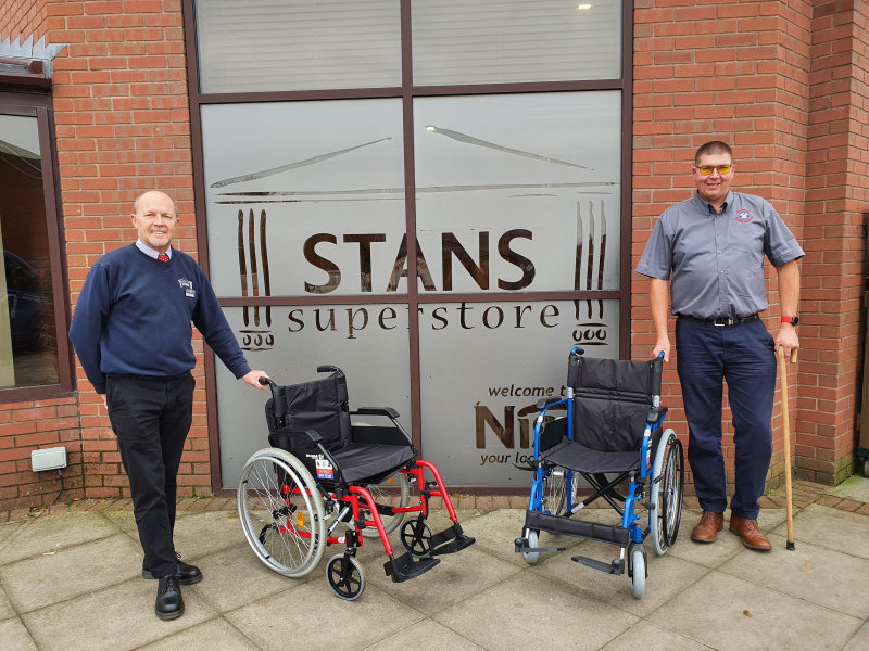 Justin Smart from Stans with Scott Marston from Shropshire Mobility Solutions