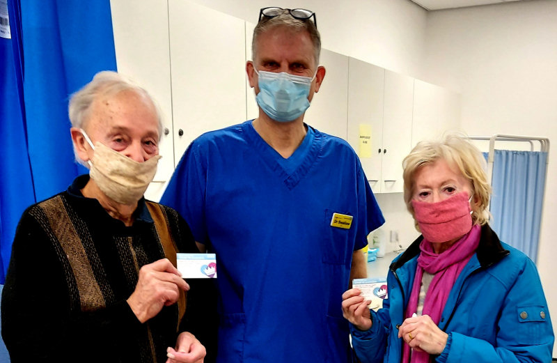 Kenneth and Caroline Harrold, patients at the Cleobury Mortimer Medical Centre receive their vaccinations.