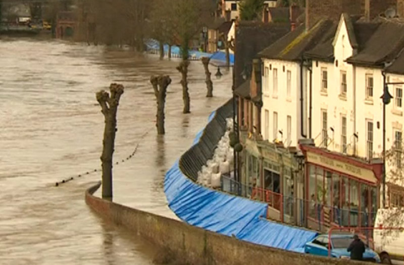 Flood defences pictured in Ironbridge yesterday.