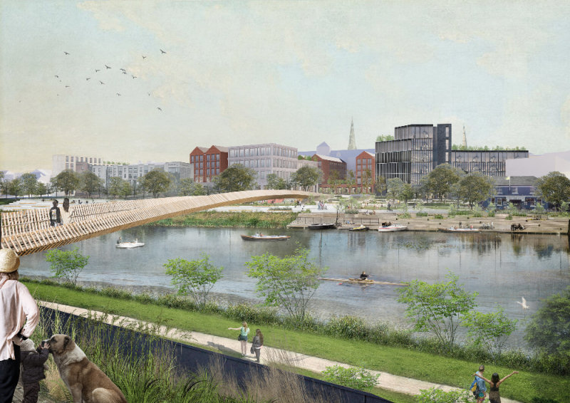 Among the ideas suggested is creating a riverside walkway and park by rerouting traffic away from Smithfield Road.