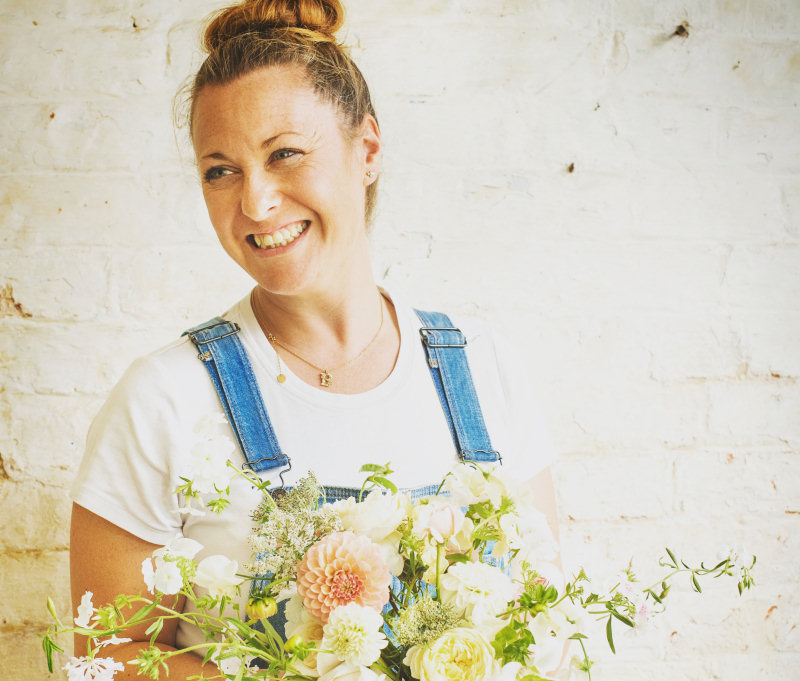 Beth Childs with some of her flowers