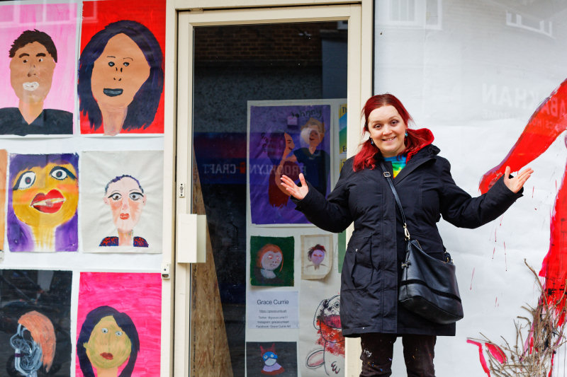 Artist Grace Currie in front of her exhibition in Shoplatch, Shrewsbury. Photo: Chris Wright / Helter Skelter Studios