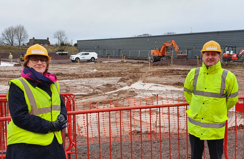 Liz Lowe and James West from Morris Property at the Paragon Point site in Telford