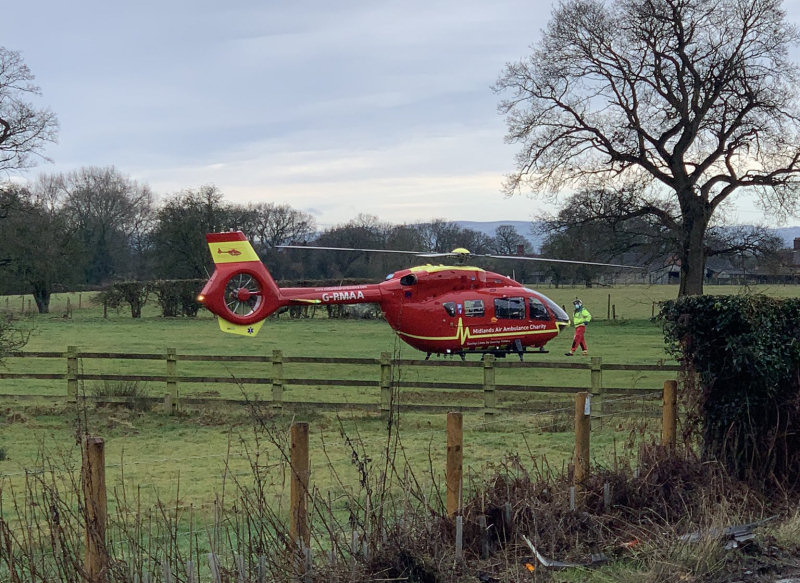 The Midlands Air Ambulance attended the collision landing in a field next to the A53. Photo: @ShrewsburyCops
