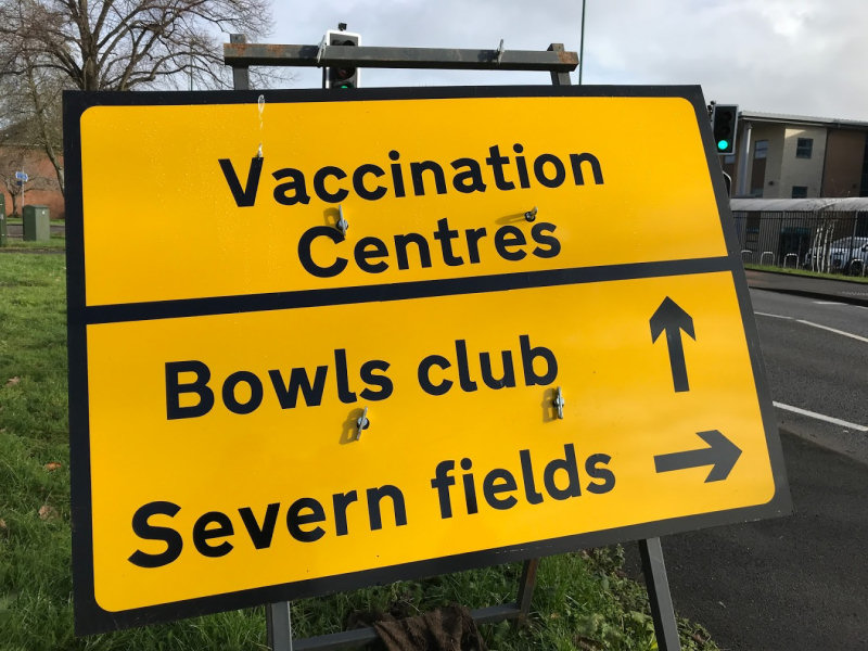 A sign directs those attending to the Indoor Bowling Centre on Sundorne Road in Shrewsbury. Photo: Chris Pritchard