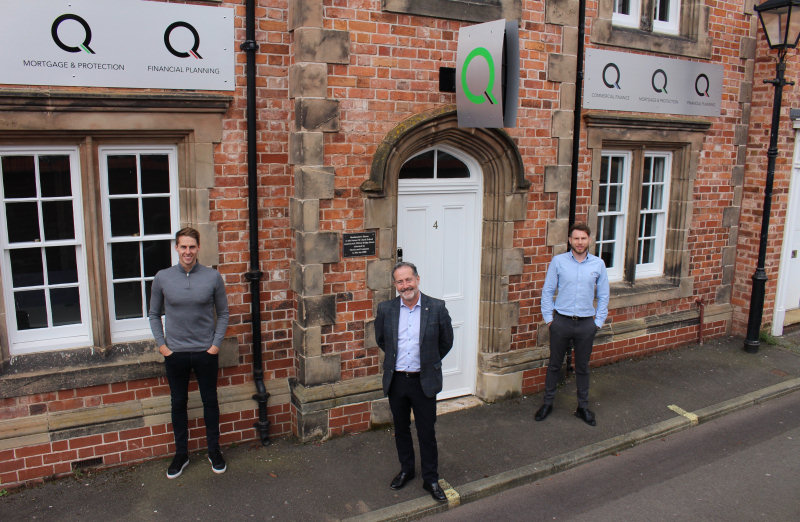 Q Financial Services directors Dave Edwards, left, and Mitchell Gough, centre, outside the company's new Shrewsbury office, with Ben Wootton, right, the branch manager