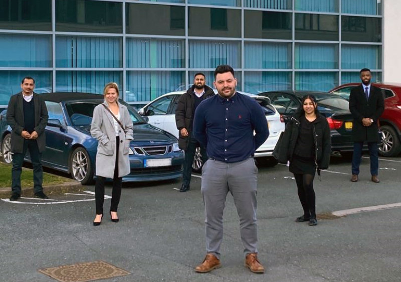 Pictured outside 1st Choice Insurance Shrewsbury is Jamie Firkin, Sales Manager. BACK - Jaswant Kanth, Louise Lacey, Mohammed Yahseen, Kiran Bains and Jordy Nkunga, New Sales Executives