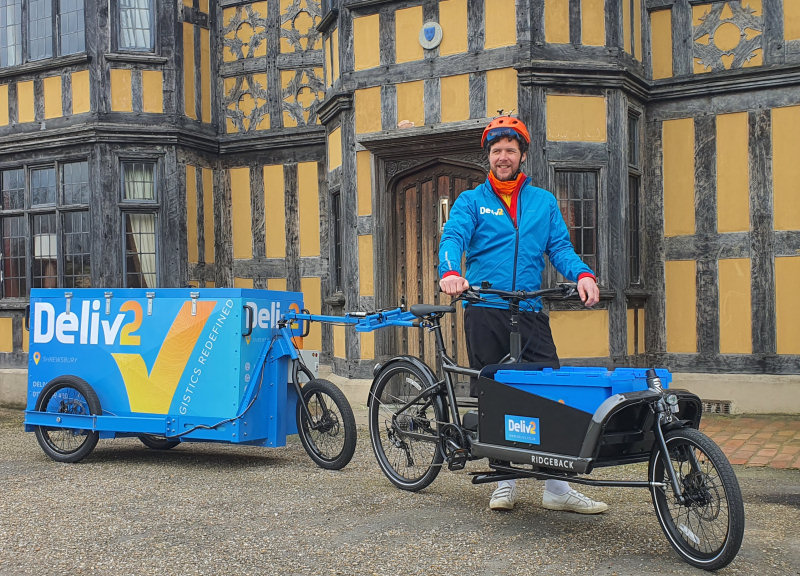 Deliv2 uses E-cargo bikes and trailers to make deliveries and collections across Shrewsbury