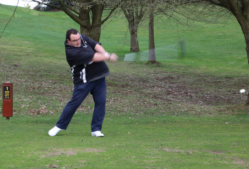 Jez's massive 289 yard Drive Into Office and Official Re-opening of Bridgnorth Golf Club. Photo: Mike Purnell