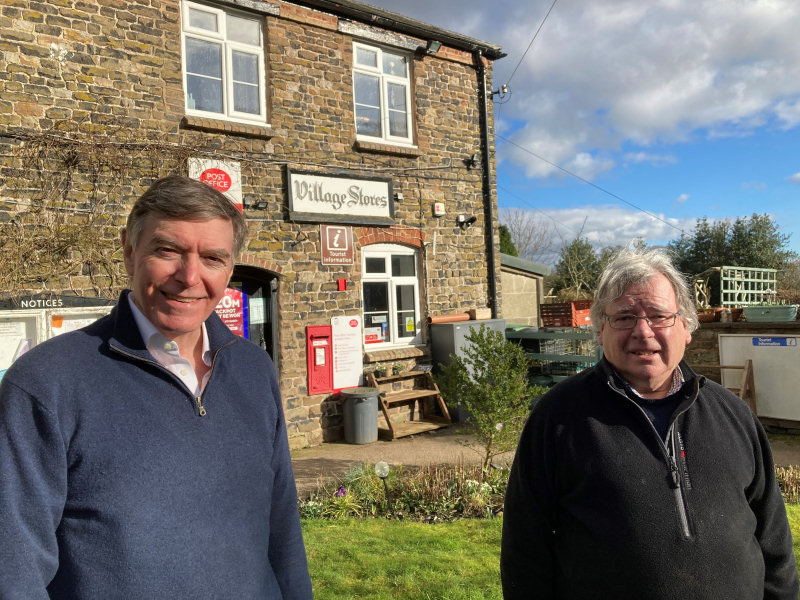 Philip Dunne MP with Shropshire Councillor Robert Tindall at Cleobury North Post Office