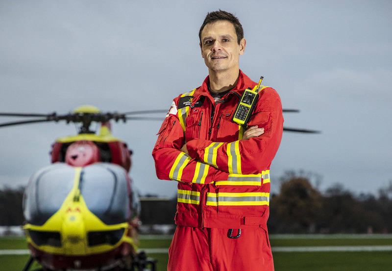 One of the challenge's Team Captains, Stephen Mason, critical care paramedic for Midlands Air Ambulance Charity