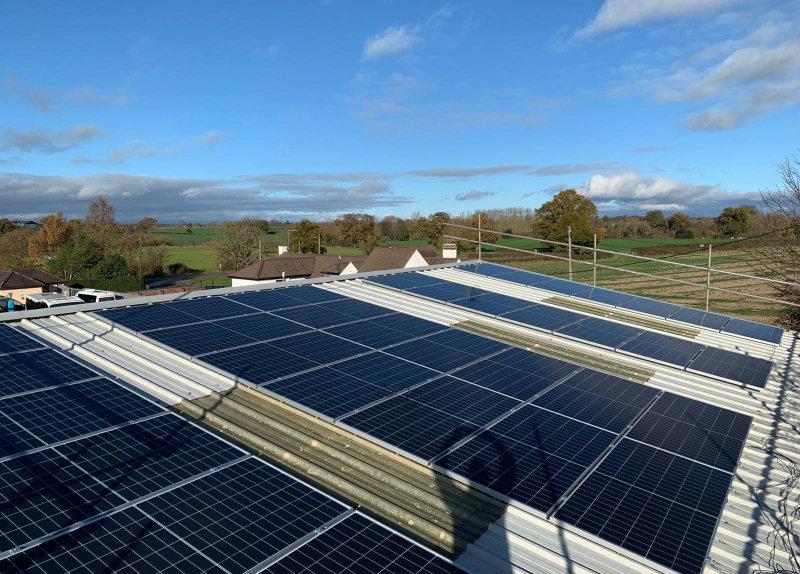 The solar panels at Longmynd Travel
