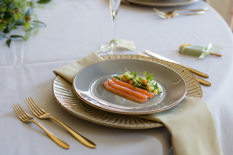 Wedding breakfast starter course of Gin-cured Salmon