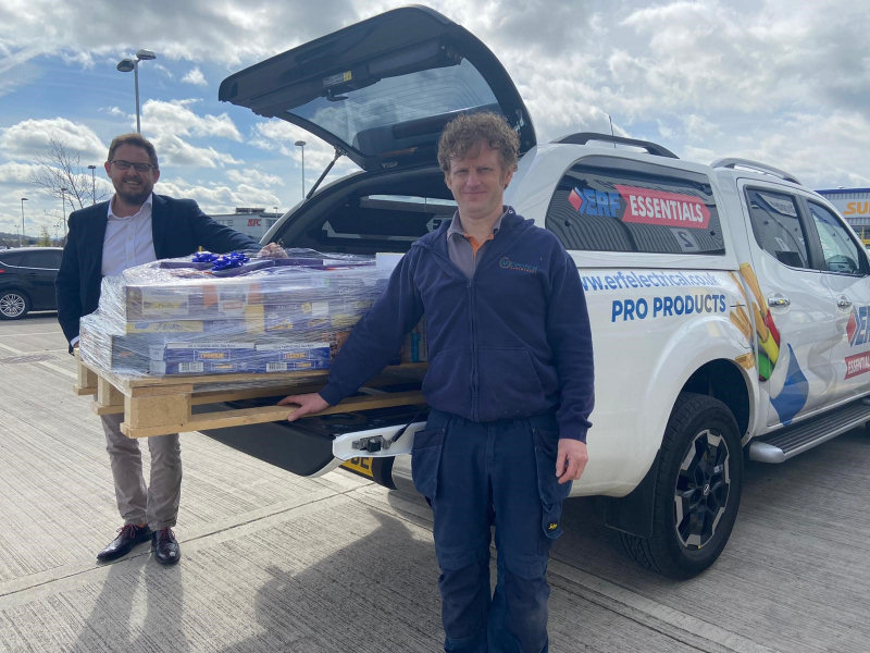 William Aston, 43, won 80kg of chocolate after entering a competition with electrical wholesaler ERF