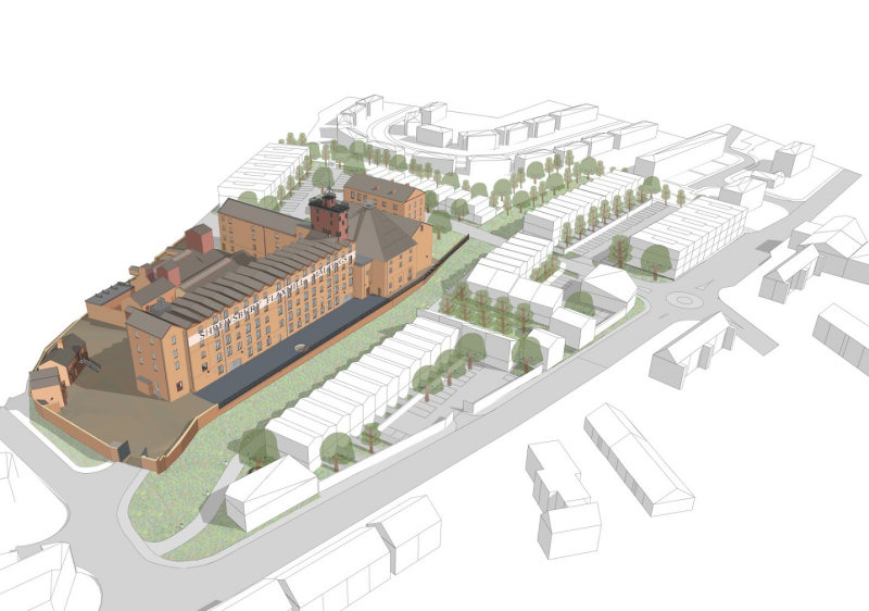 An indicative drawing of what future housing might look like at Shrewsbury Flaxmill Maltings, similar to the drawing used in the December 2020 outline planning consent application. Photo: © Feilden Clegg Bradley Studios