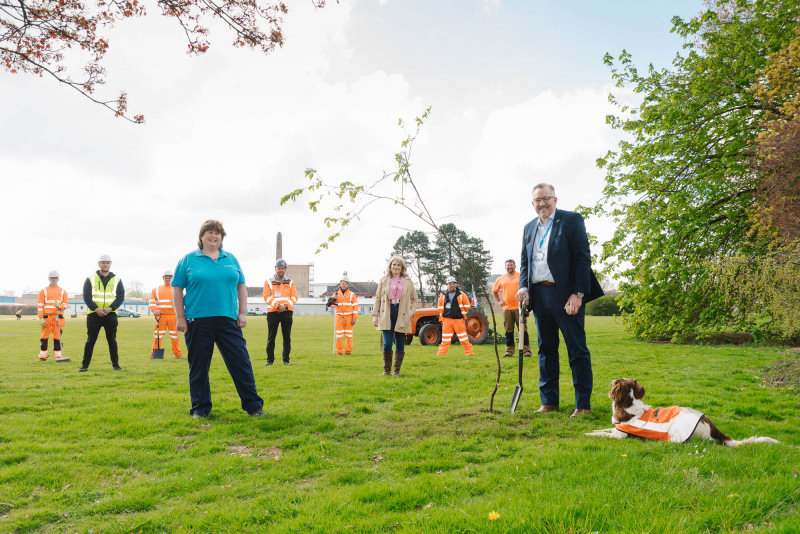 From left, Kate Betts, Physiotherapy Rehabilitation Technician on the Midland Centre for Spinal Injuries (MCSI) and Staff Governor; Victoria Sugden, League of Friends Charity Director; Mark Brandreth, RJAH Chief Executive; pictured with the contractors working to develop the path