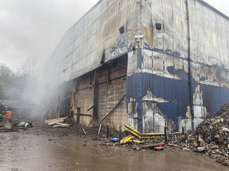 Agencies worked alongside the fire service to remove one side of the affected building to enable crews access. Photo: @SFRS_TelfordCtl