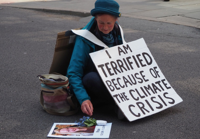 Beth, an Extinction Rebellion protester from Shrewsbury took part in the 'Rebellion of One' protest on Castle Street