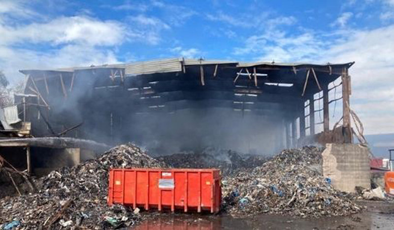 The scene of the fire at Greenway Polymers in Telford. Photo: Telford & Wrekin Council