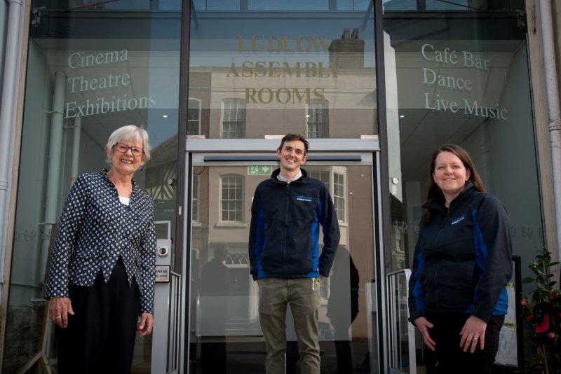 Ludlow Assembly Rooms CEO Helen Hughes, site manager Joe Price and Pave Aways' Commercial Director Victoria Lawson at the newly refurbished Assembly Rooms