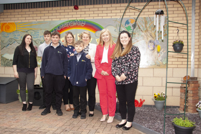 Staff and students at the opening of the sensory garden. From left, Kelly Lake, Kennan Watson-Stevens, Alfie Welfare, Rebecca Lance, Anton Archer, Dr Gill Eatough, Julie Bravo, and Emily Shepherd