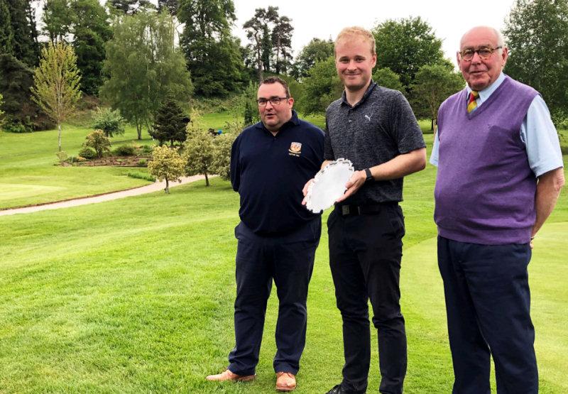 Jez Wilson (Men's Captain), Winner Tom Kerr of Shrewsbury GC & Dave Pearson (President)