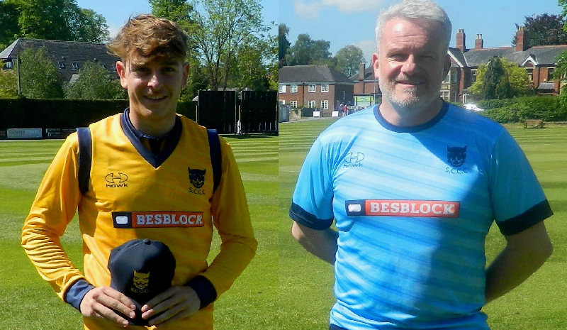 Ben Lees, left, was presented with a Shropshire CCC cap ahead of the Northumberland match by Ian Roe