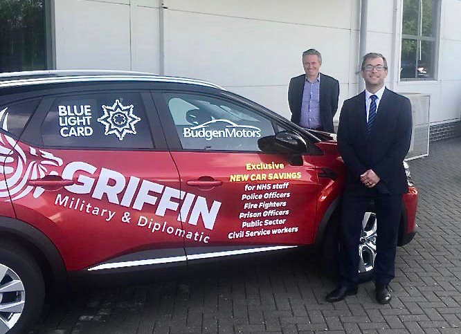 James Martin, front, the managing director of Budgen Motors, with Dave Courteen, the managing director of The Shrewsbury Club