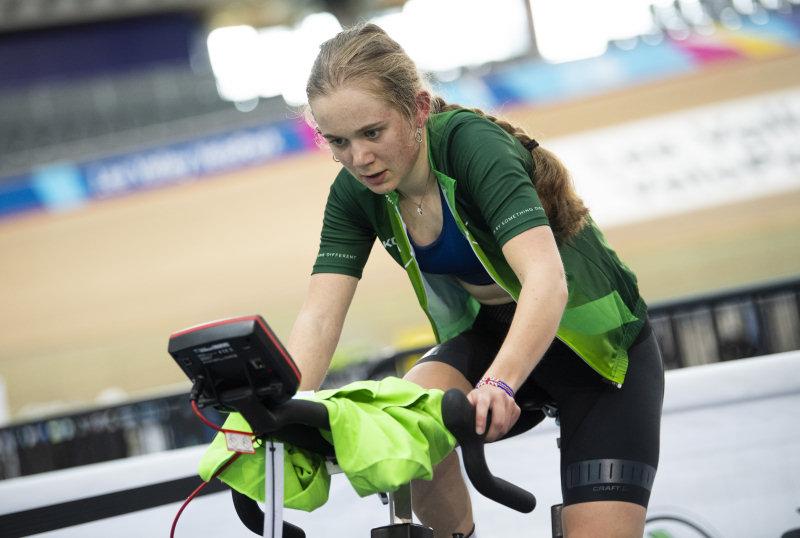 Gwyneth Parry training at the SKODA DSI Cycling Academy