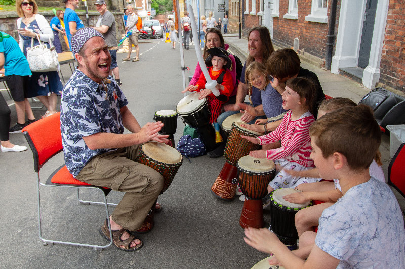 The sound of Jembe Drums bring a West African rhythm to the Market Square on Saturday 7th August