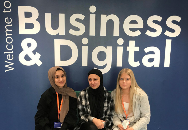 The Telford College trio who reached the UK final, from left, Laaiba Ul-Haq, Sophia Tranter and Amelia Grzesik
