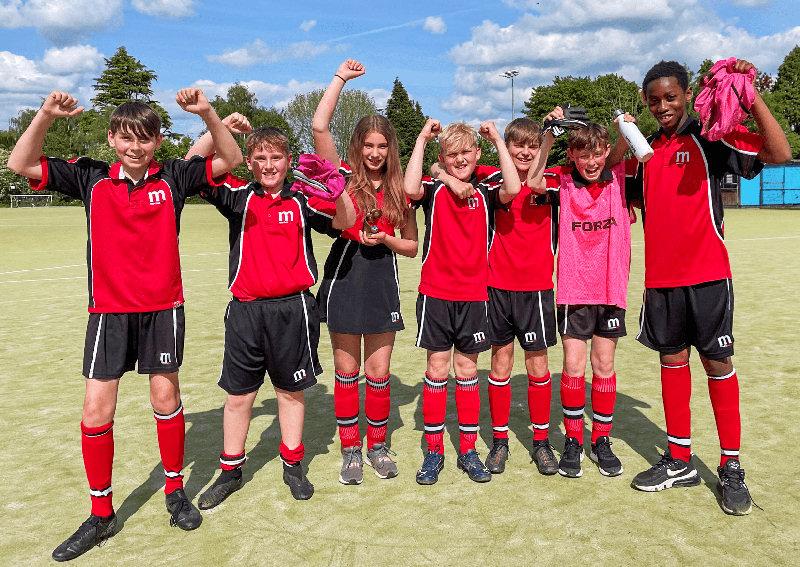 Year 7 players Rhys Morris, Ollie Davies, Maisie Robbins, George Grindley, Niall Maguire, Jack Hughes, Jeslie Nang-Bayi