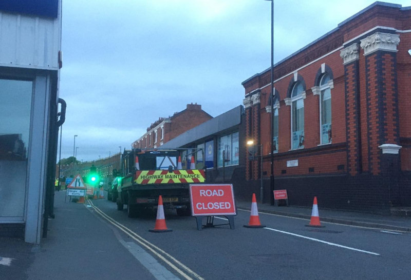 St Michael's Street is closed to traffic. Photo: Martin Childs