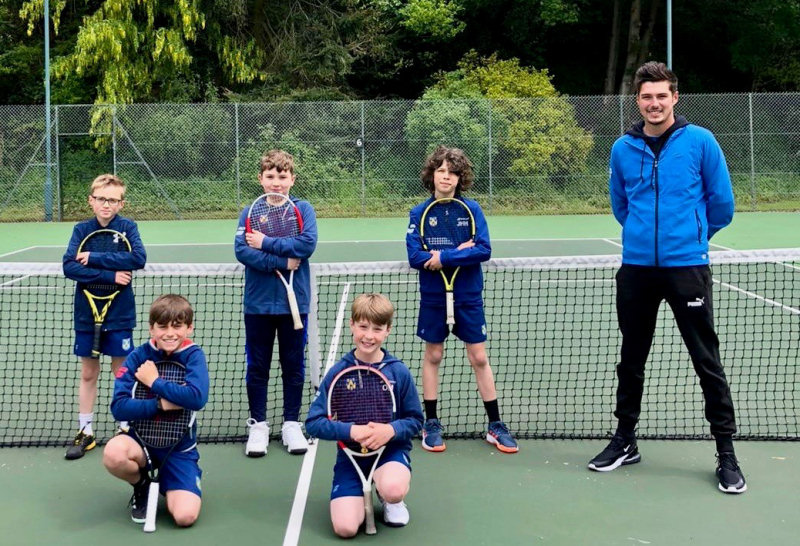 The Shropshire boys team with captain Ollie Gwilt at Stourbridge and the Shropshire girls team on day one of the LTA 10U County Cup event at Malvern