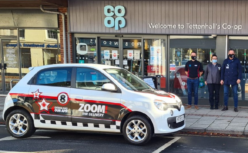 Zoom 1hr Delivery collecting groceries from Tettenhall's Co-op ready for delivery