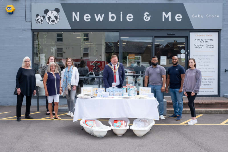 Pictured from left, Virginia Ritchie, Erin Aston, Sharon Wadeson and Nola Wilde of Telford Crisis Support, Mayor Paul Davis and Ameer Karim, Aqueel Karim and Kate Lambert of Newbie and Me