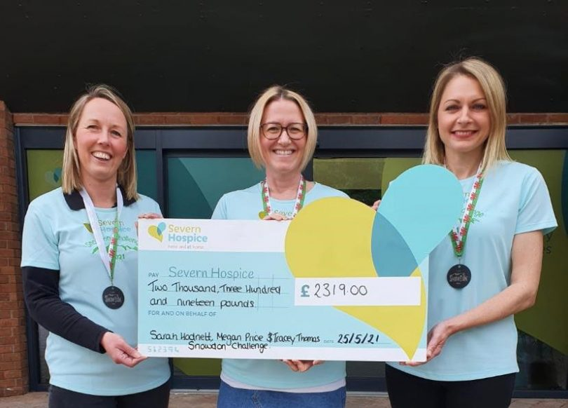 Sarah Hodnett (right) with Megan Price and Tracey Thomas, presenting their cheque to Severn Hospice