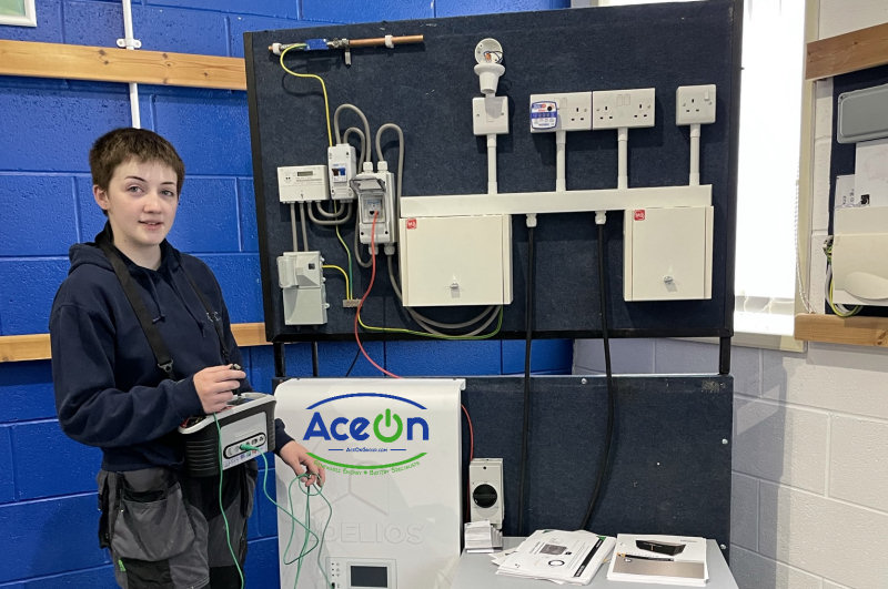 An installer with the AceOn training rig at the GTEC training centre