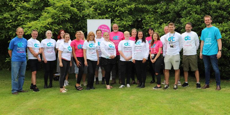 Some of the intrepid Derwen College Snowdon Challenge team gear up for the big event on 20 July
