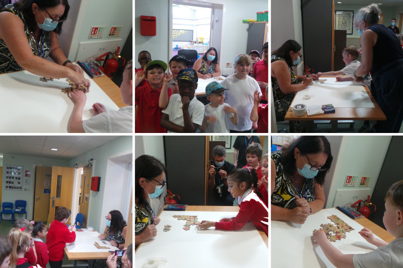 Children visited Mrs Worton with their individual puzzle pieces, which they each placed on a board to form a big jigsaw