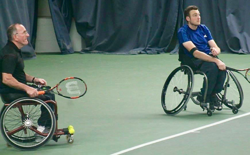 John Lambert, left, and Scott Smith, playing doubles at a previous event, have both entered this weekend's Shrewsbury Wheelchair Tennis Tournament