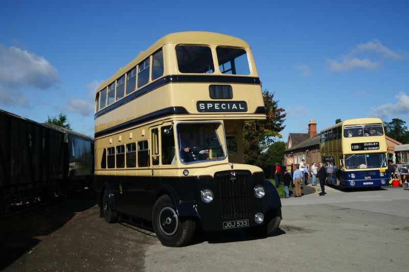 The double decker, 1950s style buses will transport passengers who have booked the service as part of their SVR train journey