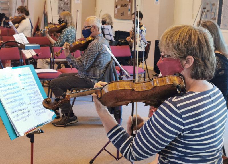 Shrewsbury Symphony Orchestra rehearsing at Bayston Hill Methodist Church