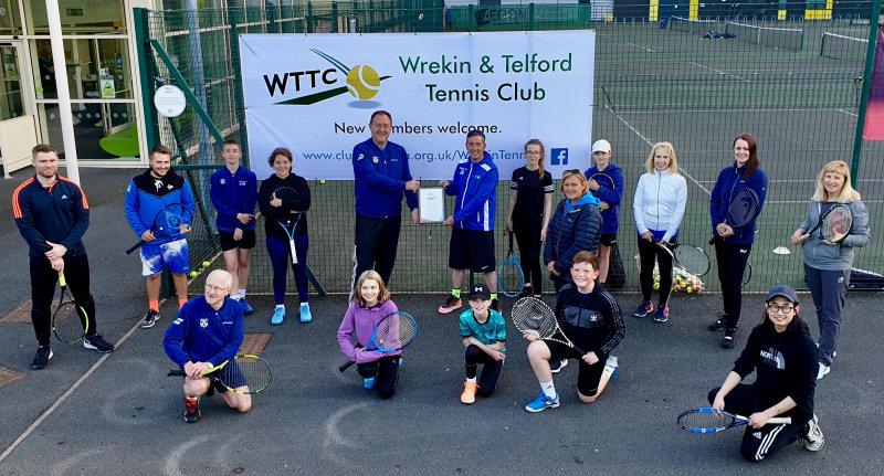 Simon Jones, the Tennis Shropshire chair, recently presented Wrekin and Telford Tennis Community with their LTA county award at Telford Tennis Centre