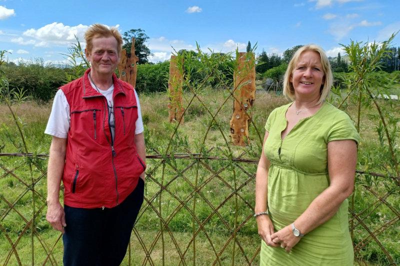 Artist Tim Platt with Helen Knight, development manager for Lingen Davies