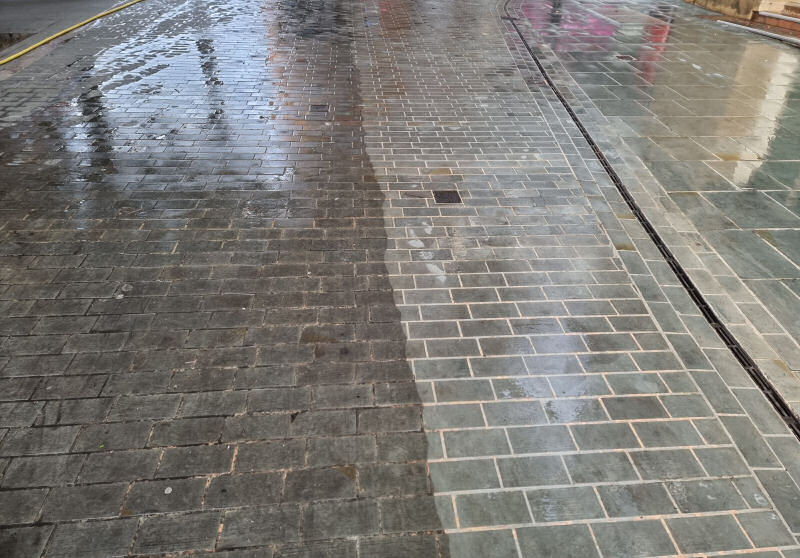Street cleaning works are taking place in Shrewsbury town centre
