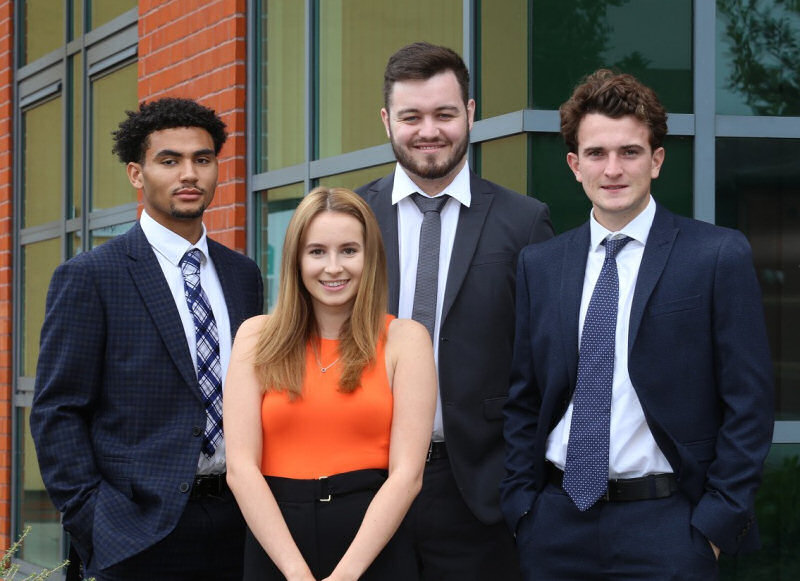 Dyke Yaxley's new trainees – from left, Keefe Williams, Sophie Griffiths, Daniel Oakes and Charlie Home